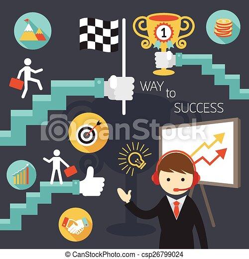 Negocios, escalera al éxito - csp26799024