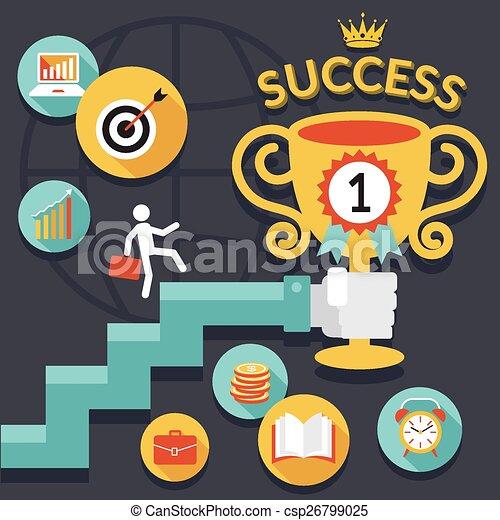 Negocios, escalera al éxito - csp26799025