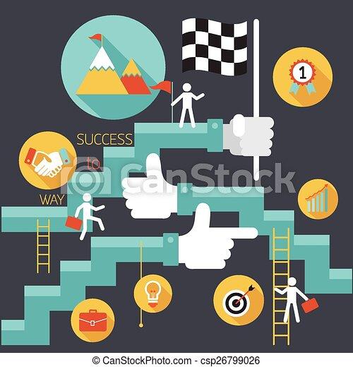 Negocios, escalera al éxito - csp26799026