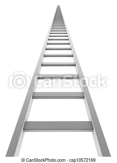 Una escalera blanca que sube aislada de fondo blanco. - csp10572169