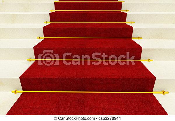 Escalera y alfombra roja finos antecedentes de imagen.