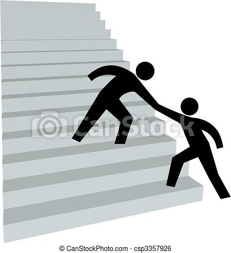 Ayudando a un amigo a subir a la escalera - csp3357926