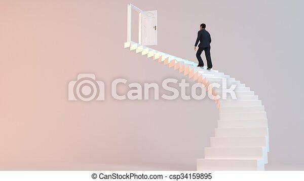 Escalera 3D corporativa - csp34159895
