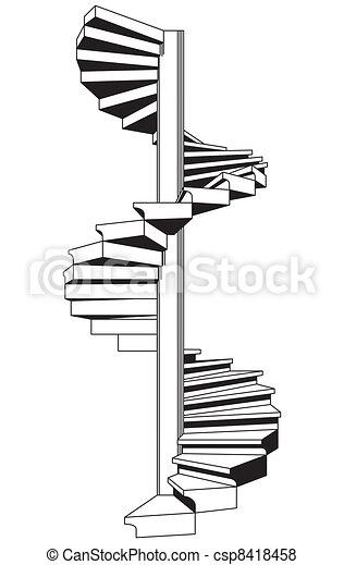 Gr fico vectorial de escalera espiral csp8418458 buscar - Escalera en espiral ...