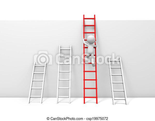 Hombre con escalera - csp19975072