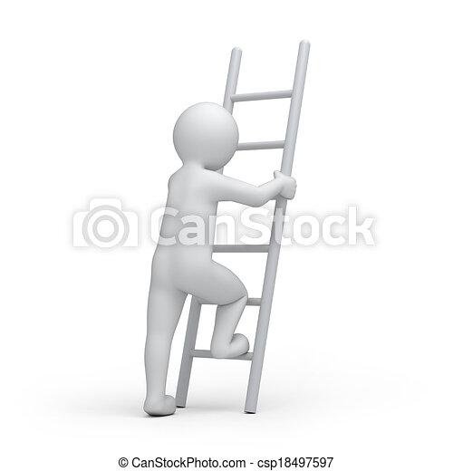 Humano con una escalera - csp18497597