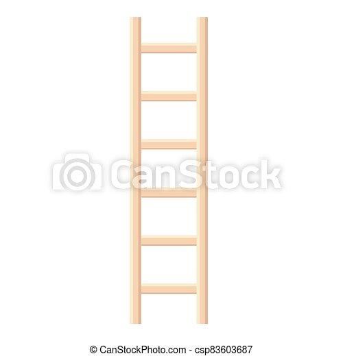 escalera, ilustración, de madera, vector - csp83603687