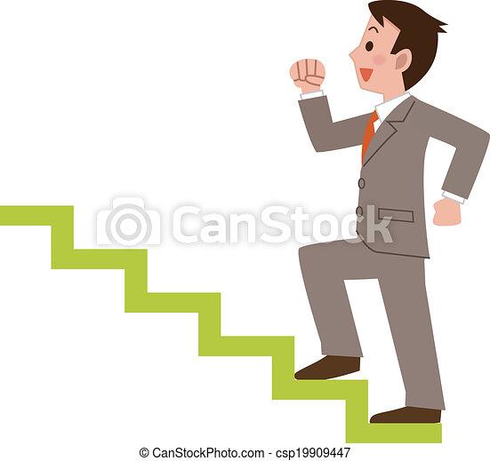 Hombre de negocios subiendo las escaleras - csp19909447