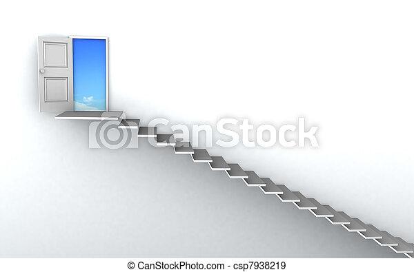 Escaleras 3D hasta el éxito - csp7938219