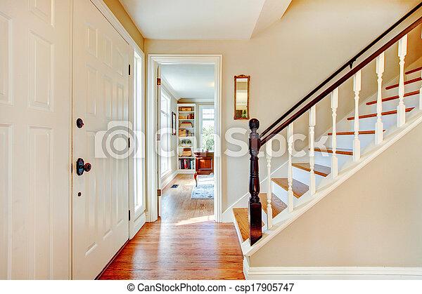 Escalier, couloir, couleurs, doux. Couloir, brun, plancher, bois ...