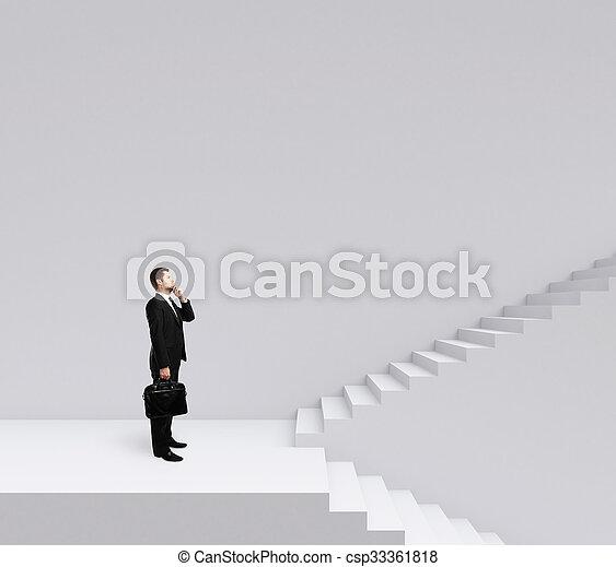 escalier, homme affaires tient - csp33361818