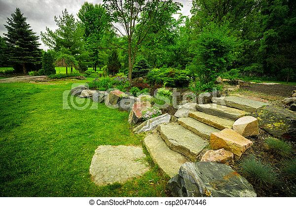 Escalier, jardin pierre, luxuriant, vert, sentier. Escalier ...