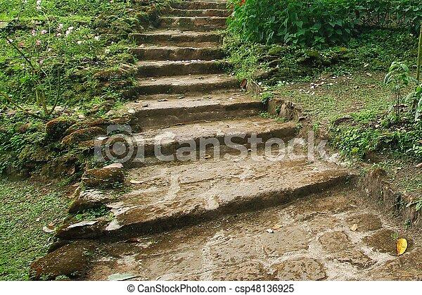 Escalier, landscaping, pierre, naturel, jardin.