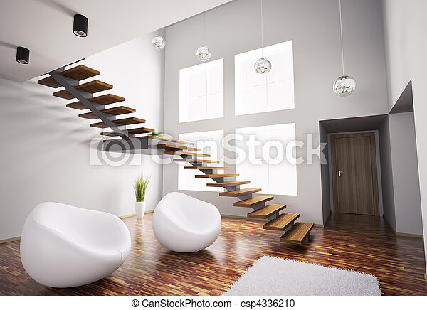escalier moderne int rieur fauteuils blanc 3d render. Black Bedroom Furniture Sets. Home Design Ideas