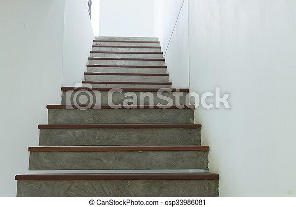 Escalier, Mur, Mortier, Ciment, Bois, Blanc
