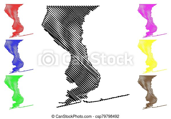 Escambia County, Florida (U.S. county, United States of America, USA, U.S., US) map vector illustration, scribble sketch Escambia map - csp79798492