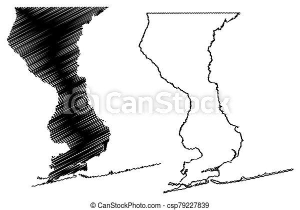 Escambia County, Florida (U.S. county, United States of America, USA, U.S., US) map vector illustration, scribble sketch Escambia map - csp79227839