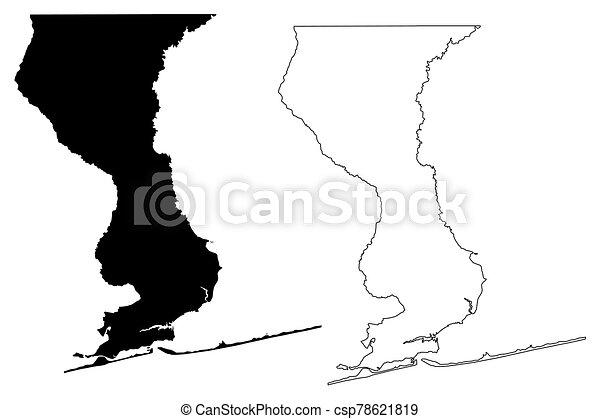 Escambia County, Florida (U.S. county, United States of America, USA, U.S., US) map vector illustration, scribble sketch Escambia map - csp78621819