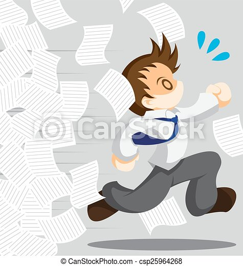 Escape From Work Cartoon Vector Of Running Office Worker From Work