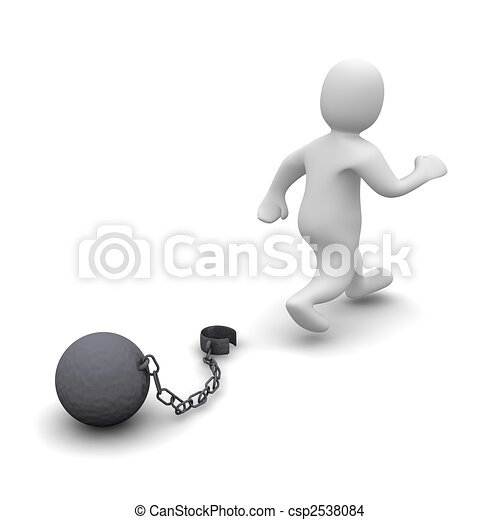Escaping criminal. 3d rendered illustration isolated on white. - csp2538084