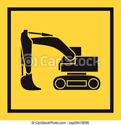 escavador, escavadora, pista, contínuo, crawler, trator, backhoe., lâmina, tem rodas - csp29418095
