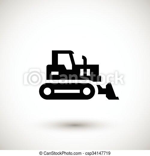 escavadora, crawler, ícone - csp34147719