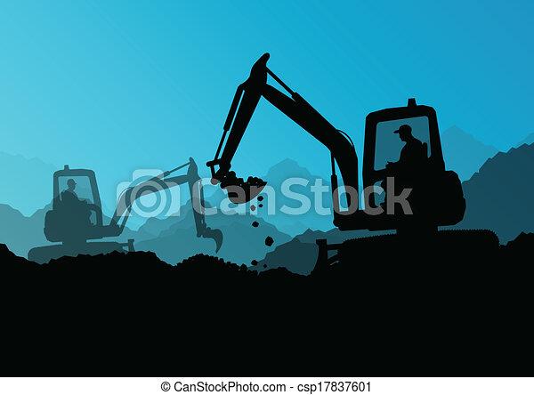 escavadora, industrial, cavando, escavador, trabalhadores, local, ilustração, tratores, vetorial, fundo, construção, carregadores - csp17837601