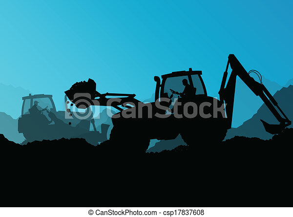 escavadora, industrial, cavando, escavador, trabalhadores, local, ilustração, tratores, vetorial, fundo, construção, carregadores - csp17837608