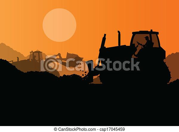 escavadora, industrial, escavador, local, ilustração, carregador, vetorial, fundo, construção - csp17045459