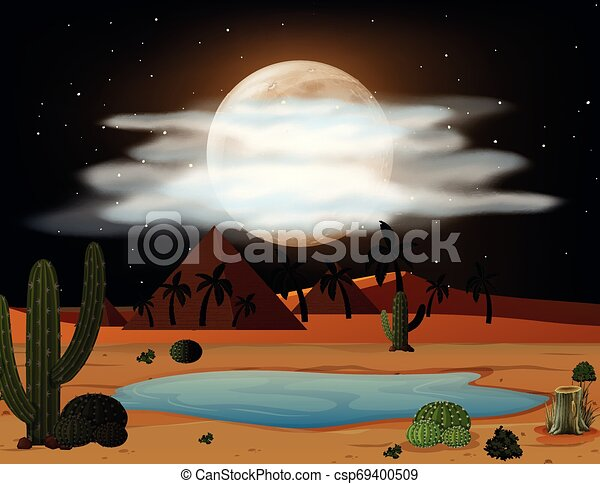 Una escena del desierto por la noche - csp69400509