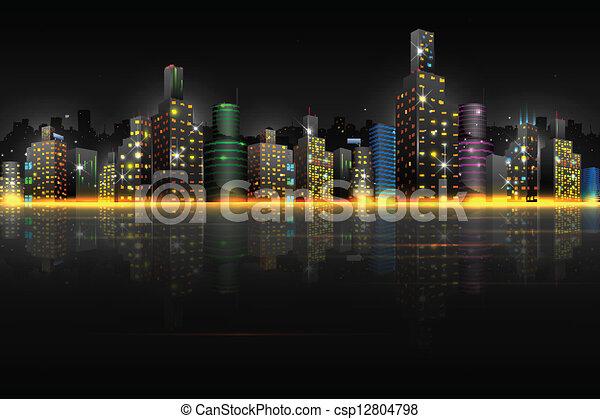 La escena nocturna de la ciudad - csp12804798