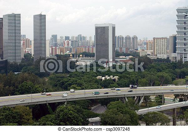 Escena de la ciudad, singapore - csp3097248