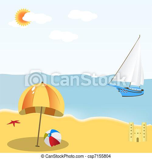 La escena de la playa - csp7155804
