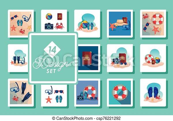 escenas, catorce, diseños, iconos, conjunto, verano - csp76221292