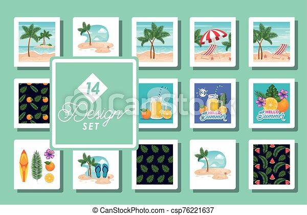 escenas, catorce, patrones, diseños, conjunto, verano - csp76221637
