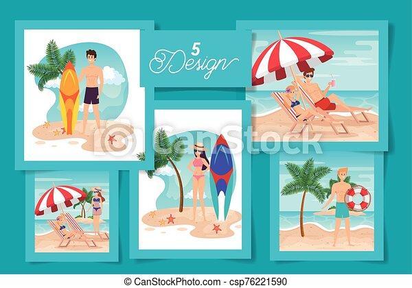 escenas, diseños, gente, conjunto, verano, cinco - csp76221590