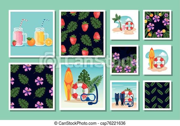 escenas, patrones, tropicals, verano, lío - csp76221636