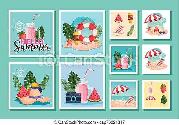 escenas, verano, iconos, lío - csp76221317