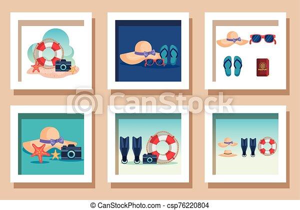 escenas, verano, iconos, lío - csp76220804