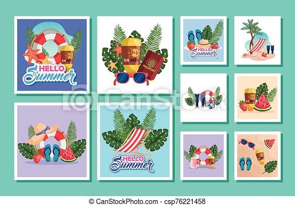 escenas, verano, iconos, lío - csp76221458