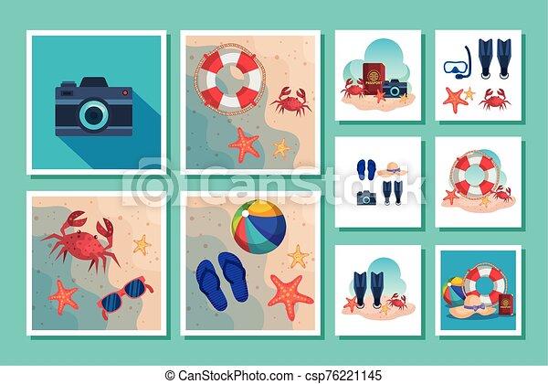 escenas, verano, iconos, lío - csp76221145