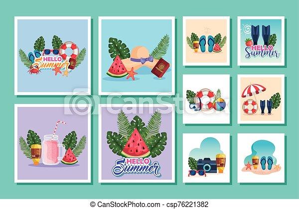 escenas, verano, iconos, lío - csp76221382