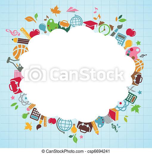 escola, ícones, -, costas, fundo, educação - csp6694241
