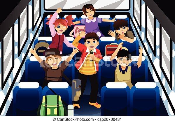 escola, dançar, autocarro, dentro, cantando, crianças - csp28708431