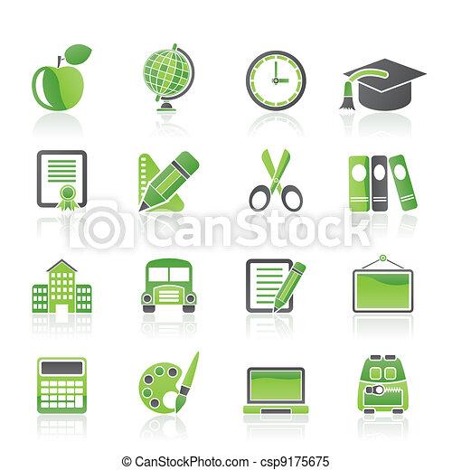 escola, educação, ícones - csp9175675