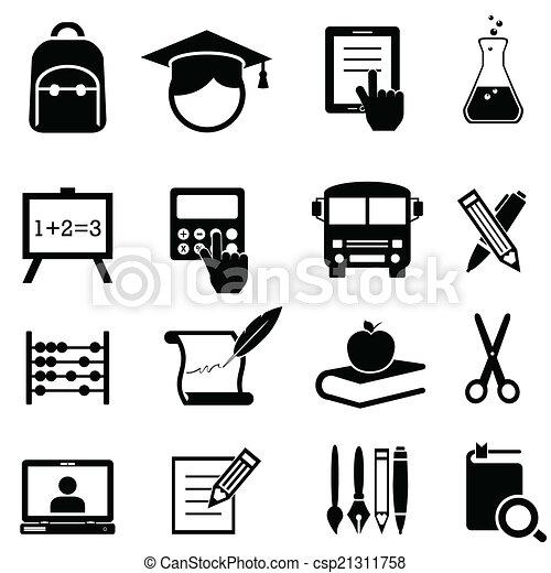 escola, educação, aprendizagem, ícones - csp21311758