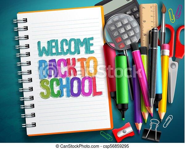 Escola Elementos Coloridos Bem Vindo Costas Itens Vetorial