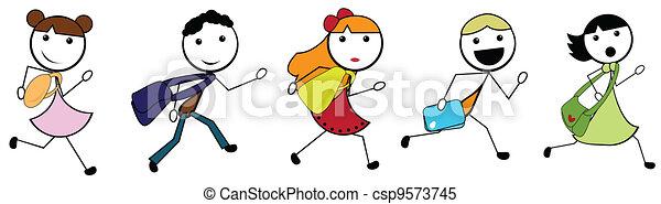 escola, ir, crianças, caricatura, vara - csp9573745