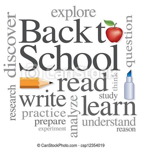 escola, palavra, costas, nuvem - csp12354019