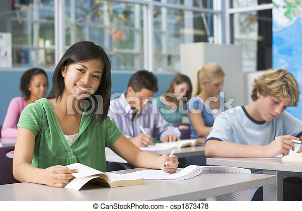 escola secundária, classe, crianças - csp1873478
